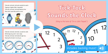 Tick-Tock Sounds the Clock Song PowerPoint - EYFS, Phase 1, Aspect 6, Voice Sounds, letters and sounds, phonics, speech development, speech and l