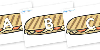 A-Z Alphabet on Panninis - A-Z, A4, display, Alphabet frieze, Display letters, Letter posters, A-Z letters, Alphabet flashcards