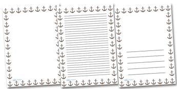 Anchor Portrait Page Borders- Portrait Page Borders - Page border, border, writing template, writing aid, writing frame, a4 border, template, templates, landscape