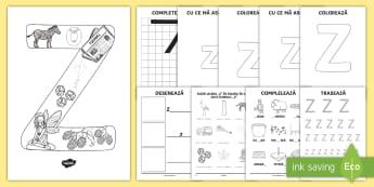 Consolidarea literei Z Broșură - alfabetul, alfabetar, litere, sunete, grafisme,Romanian