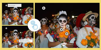 Mexican Day of the Dead Questions Picture Hotspots Spanish - Halloween, Day, Dead, Vocabulary, Speaking, Mexico, Traditions, Festivities, Celebrations