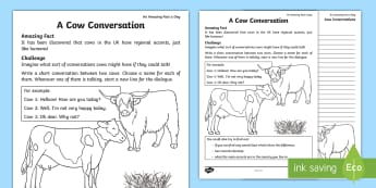 Cow Conversations Activity Sheet - Amazing Fact Of The Day, activity sheets, powerpoint, starter, Worksheet, morning activity, May, tal