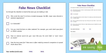 KS2 Fake News Checklist - journalism, internet safety, fact, real, propaganda, newspapers, esafety