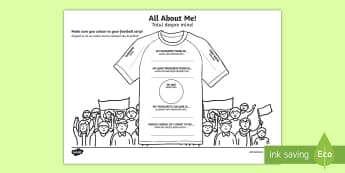All About Me Football T-Shirt Activity Sheet English/Romanian - ourselves, foot ball, sports, pe, soccer,EAL, fan, worksheet