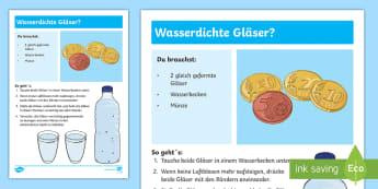 Experiment: Wasserdichte Gläser? Arbeitsblatt - Sommer, Jahreszeiten, Experiment, Wasser, Glas, Naturwissenschaft, summer, seasons, experiment, wate