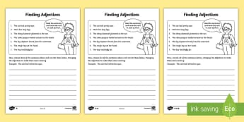 Finding Adjectives Activity Sheet - Finding Verbs Activity Sheet - finding, verbs, activity, sheet, verbsw, verbss, Grammar, sentence st