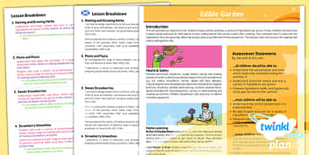 PlanIt - Design and Technology LKS2 - Edible Garden Planning Overview CfE - planit, overview, cfe