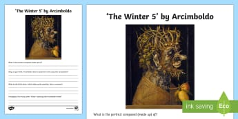 Winter 5 by Arcimboldo Activity Sheet - art appreciation, activity sheet, work sheet, Arcimboldo, 'Winter 5',Irish, worksheet