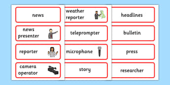 News Word Cards - news, newsroom, word cards, cards, flashcards, news presenter, reporter, camera, headlines, story, press, camera operator, bulletin