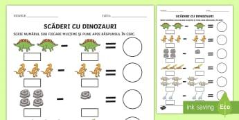 Scăderi cu suport vizual pe tema dinozaurilor Fișă de activitate - suport vizual, matematică, adunări, scăderi, activități, jocuri, fișe,Romanian