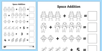 Space Addition With Pictures Worksheets - worksheets, worksheet, work sheet, space, outer space, in space, space addition, image version, space addition with pictures, space pictures, numeracy, moon, sun, stars, space themed, space theme, sheets, act