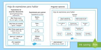Expressions for Discussions and Debates Word Mat Spanish/English - Spanish, Translations, expressions, debates, discussions, word, mat, translation