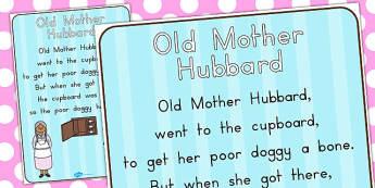 Old Mother Hubbard Nursery Rhyme Poster - rhyme, poster, display