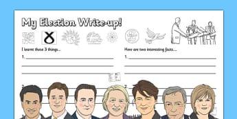 Election Write Up Worksheet - election, write up, worksheet