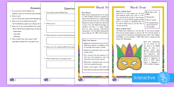 Mardi Gras Differentiated Comprehension Go Respond Activity Sheets - Mardi Gras, Fat Tuesday, Shrove Tuesday, Carnival, Differentiated Reading Comprehension, KS1, Tradit