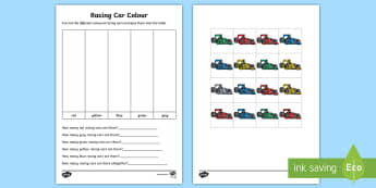 Racing Car Colour Graph Activity Sheet - Australian Sporting Events Maths, foundation, statistics and probability, data representation and in