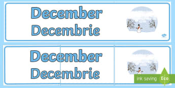 December Display Banner English/Romanian - December Display Banner - december, display banner, display, banner, months, year, EAL