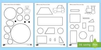 Formen bilden Arbeitsblätter - Mathe, Geometrie, Flächen, Seiten, Ecken, Figuren,,German