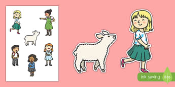 Mary Had a Little Lamb Story Cut Outs - mary had a little lamb, nursery rhyme, story cut outs