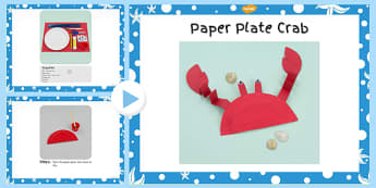 Paper Plate Crab Craft Instructions PowerPoint - paper, craft