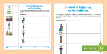 SHANARRI Reflecting on my Wellbeing Activity - diary, reflection, Safe, healthy,Achieving, nurtured, active, responsible, respected, included, Scot