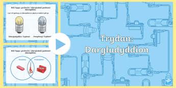 Pŵerbwynt Dargludyddion Trydanol - dargludyddion trydan, trydan blwyddyn 4, pwerbwynt dargludyddion trydan, cylched, arbrawf drydanol,W