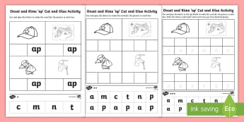 \'ap\' Onset and Rime Differentiated Activity Sheets - EYLF, Literacy, phonological awareness, onset and rime, cvc words, english, worksheets, kindergarten