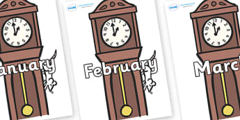 Months of the Year on Clocks - Months of the Year, Months poster, Months display, display, poster, frieze, Months, month, January, February, March, April, May, June, July, August, September