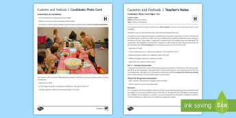 Customs and Festivals 1 Higher Tier Photo Card Activity Spanish - Spanish, Speaking, Practice, photo, card, activity, oral, higher, tier, customs, festivals, celebrat
