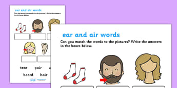 ear' and 'air' Sounds Matching Activity Worksheet - 'ear', 'air', sounds, matching, activity, worksheet, match, letters and sounds