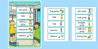 Gymnastic Jumps Sequencing Board - Eyfs, physical development, movement, actions,