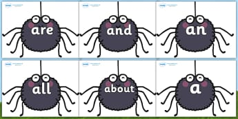 100 High Frequency Words on Spiders  - High frequency words, hfw, DfES Letters and Sounds, Letters and Sounds, display words