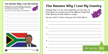 Five Reasons Why I Love My Country Activity Sheet - love my country, creative writing, heritage day, pride, Citizenship, sentence writing