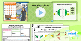 PlanIt Y5 Position and Direction Lesson Pack (6) Identifying Reflected Shapes - Position and Direction, reflection, coordinate, reflective symmetry, mirror line, congruent, congruence