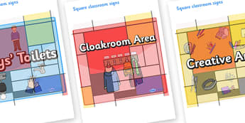 Mondrian Themed Editable Square Classroom Area Signs (Colourful) - Themed Classroom Area Signs, KS1, Banner, Foundation Stage Area Signs, Classroom labels, Area labels, Area Signs, Classroom Areas, Poster, Display, Areas