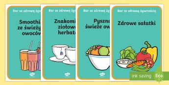 Plakaty Bar ze zdrową żywnością - restauracja, jedzenie, chigiena, zdrowie, barek, owoce, warzywa,Polish