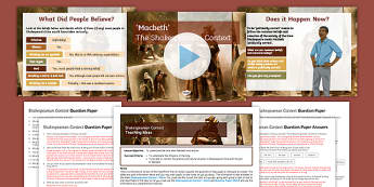 Macbeth's Shakespearean Context Lesson Pack