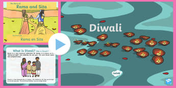 All About Diwali PowerPoint English/Afrikaans - Celebration, story, traditions, lights, storie, fees, EAL