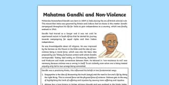 Mahatma Gandhi and Non-Violence Information Sheet