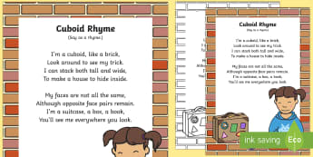 Cuboid Rhyme - 3d, maths, shape space and measure, rectangle, oblong, singing, song time