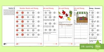 Year 2 Maths Number Bonds and Money Homework Activity Sheet - year 2, maths, homework, number bonds, money, shopkeeper, buying, paying, fruit, change, combination