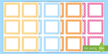 Pastel Polka Dot Square Peg Labels  - Pastel Polka Dot Tray Labels - coat pegs, cloakroom, drawer labels,  peg labels, signs, tray labels,