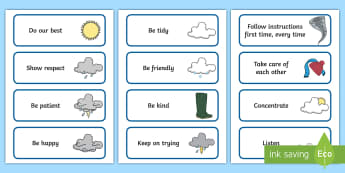 The Weather-Themed Class Charter Cards - rules, behaviour, science, world around us, display