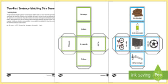 Two Part Sentence Matching Game - KS2, French, Resources,verb, sentence, match, matching, dice, game, pairs, grammar, present tense