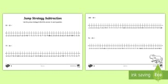 Differentiated Jump Strategy Subtraction Questions Activity Sheets - Mathematics, Year 1, Year 1, Number and Algebra, Number and place value, ACMNA015, ACMNA030, subtrac