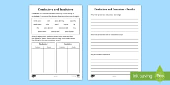 Conductors and Insulators Worksheet - materials, conductive materials, conductors, insulators, heat, how heat travels, materials worksheet, ks2 worksheet