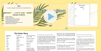Easter Story Report Task Setter PowerPoint   - easter, easter story, play