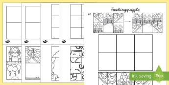 Faschingspuzzle Anmalbilder - Fasching, Karneval, Fastnacht, Puzzle, Anmalbilder,German