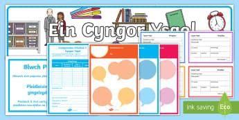 Pecyn Adnoddau Cyngor Ysgol  - cyngor ysgol, school council, yn ol i'r ysgol, display, arddangos, siarter iaith,Welsh