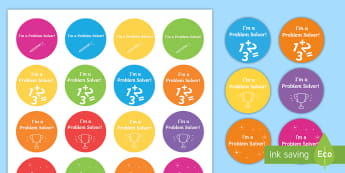 I'm a Problem Solver Stickers-Irish - ROI Numeracy - Problem Solving,Irish, problem solving, word problems, maths, stickers